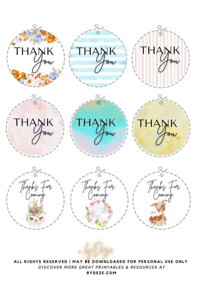 """9 round printable baby shower """"thank you"""" gift tags with baby animals and watercolor"""