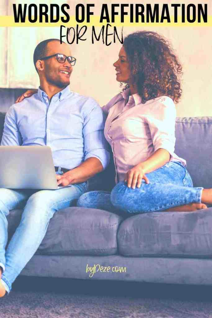 """husband and wife on couch - """"words of affirmation for men"""""""