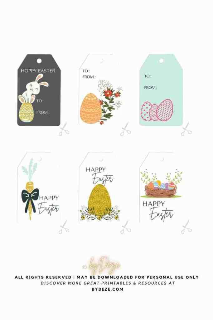 printable minimalistic Easter gift tags PDF
