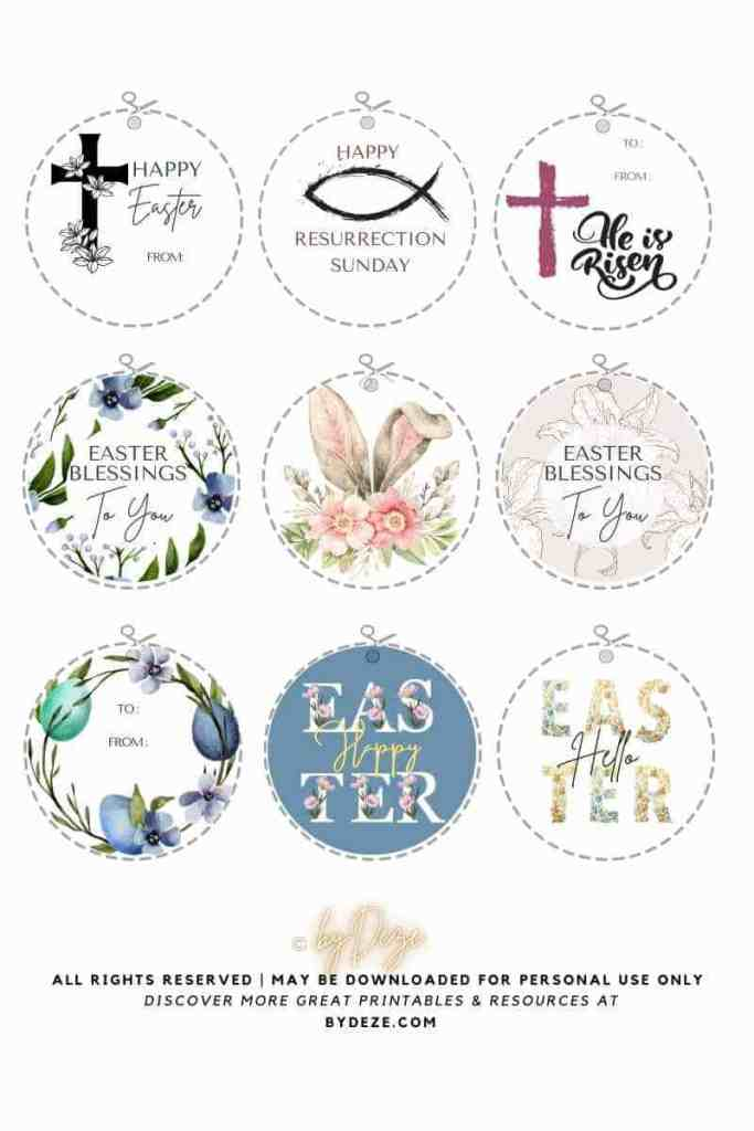 round free printable Easter gift tags