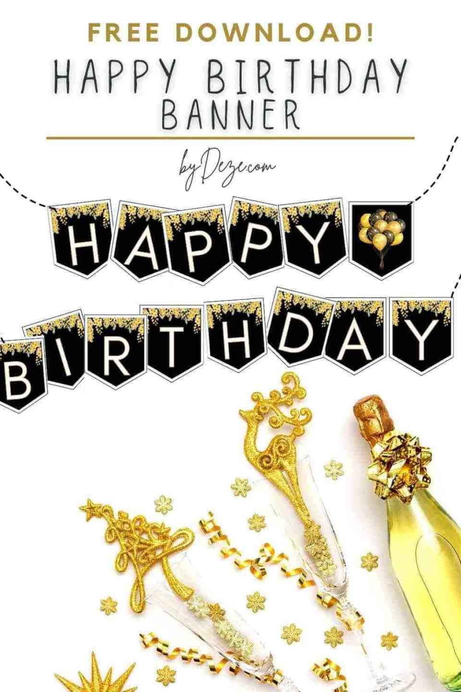 black and yellow happy birthday banner printable
