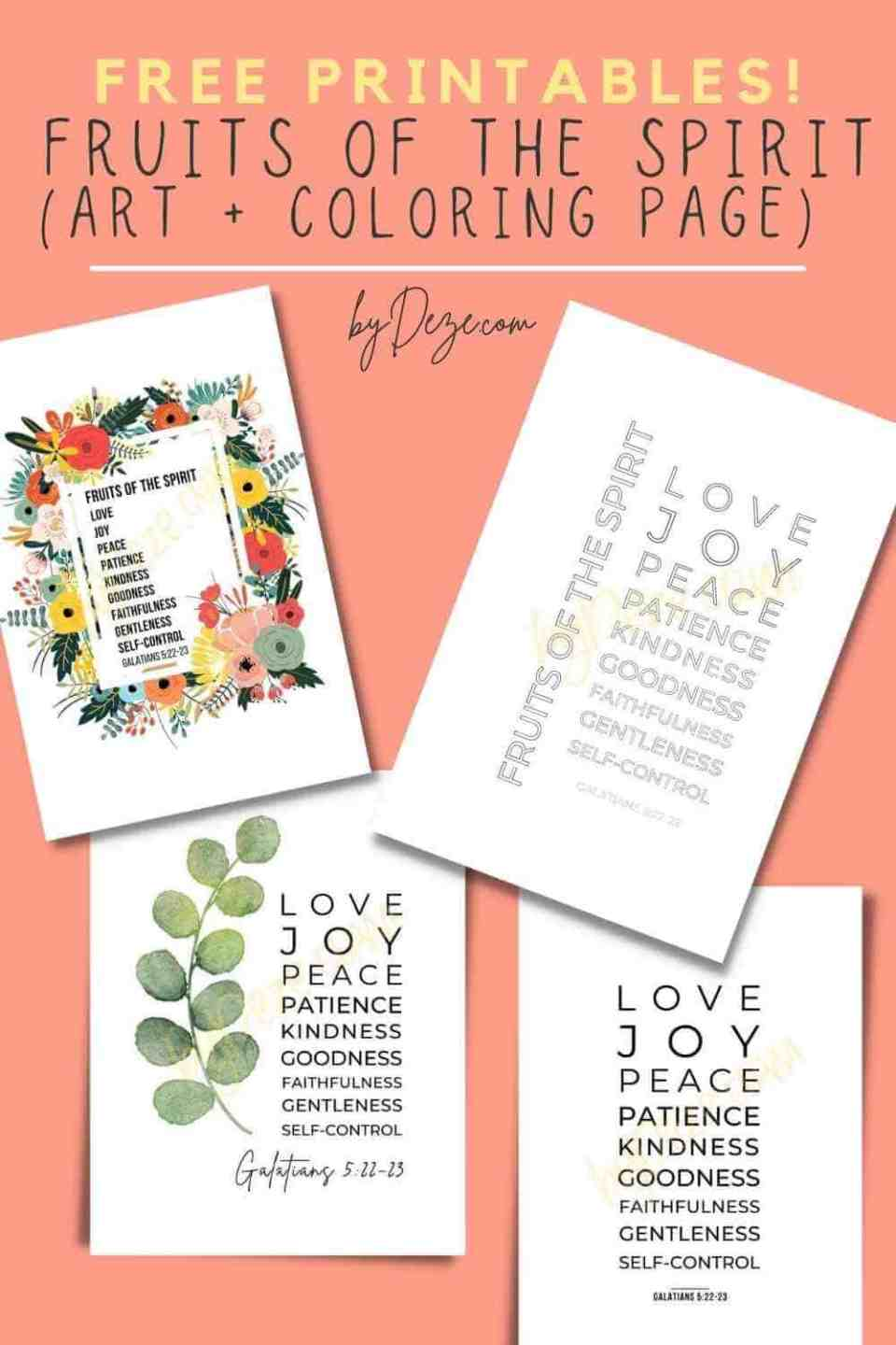 free fruit of the spirit printables for adults - 3 art decor and 1 coloring page