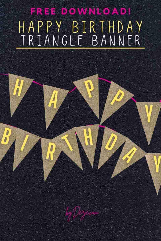glam triangle happy birthday banner