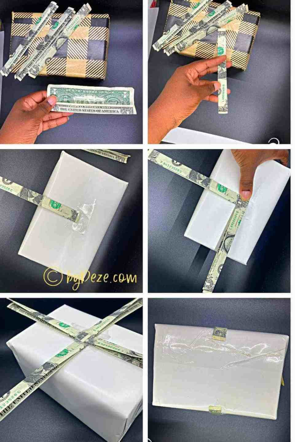 step by step folding cash into a gift bow