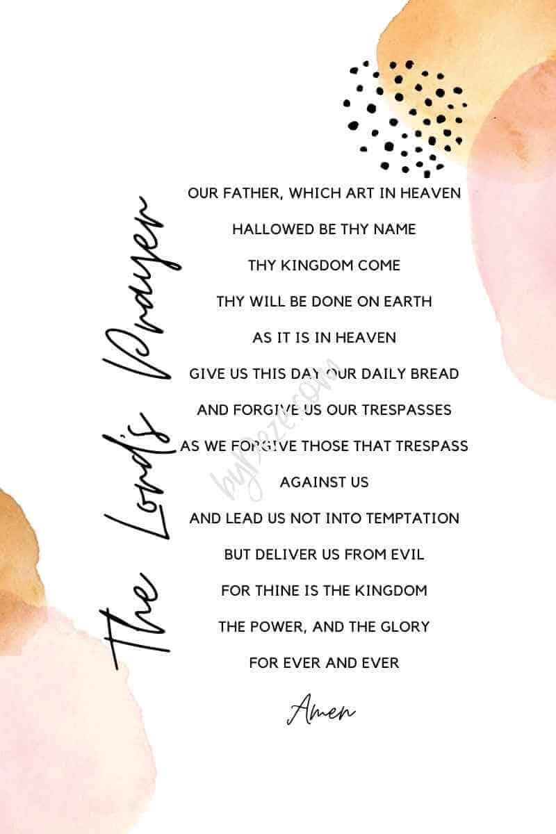 pastel lords prayer printable