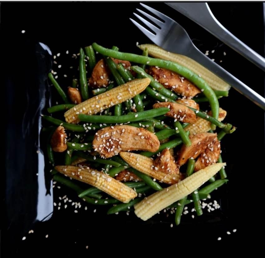 grønne bønner, haricot verts, spicy chicken, salat med kylling