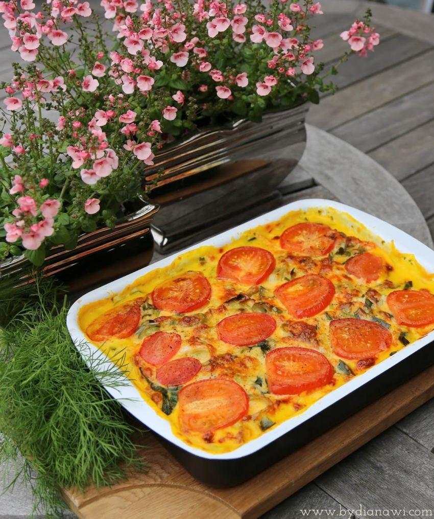 lasagne med laks, spinat, porrer