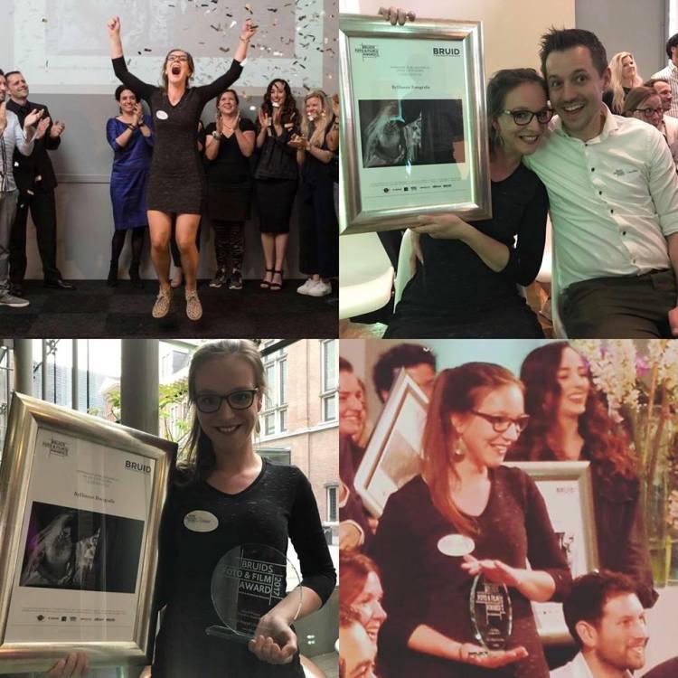 een hele blijde en trotse bruidsfotograaf die zojuist haar awards in ontvangst mocht nemen.