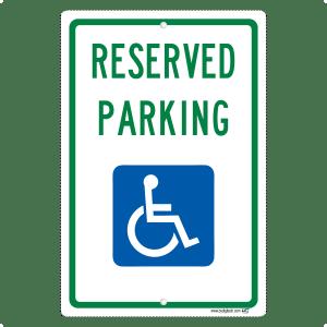 Handicap Reserved Parking - aluminum sign