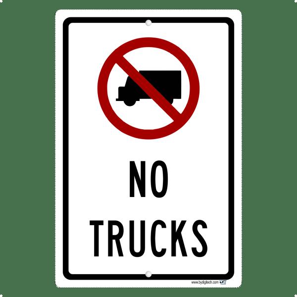 No Trucks With Symbol - aluminum sign