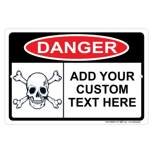Custom Danger Sign With Your Text Personalized With Skull Aluminum Sign