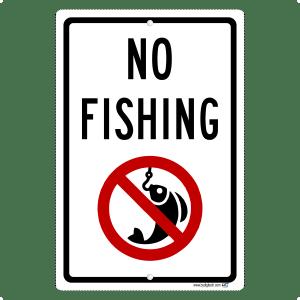 No Fishing Symbol Aluminum Sign