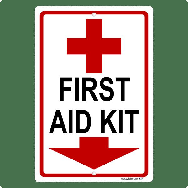 First Aid Kit Symbol Arrow Down Aluminum Sign