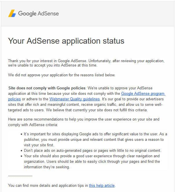 AdSense Application Rejected Mail