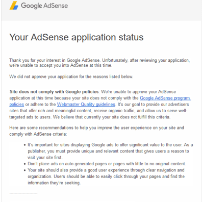 AdSense Application Rejected Email