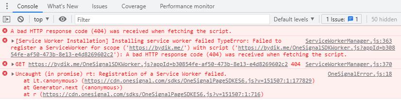 OneSignal Service Worker Error in Chrome Console
