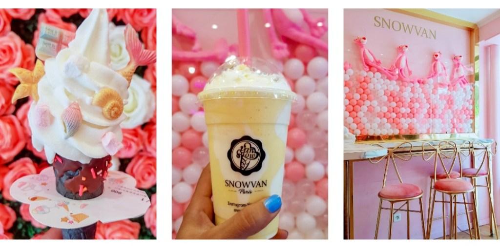 Dans la deuxième des meilleurs adresse sucrées de Paris, une crème glacée décorée, un bubble tea asiatique et une vue de la boutique.