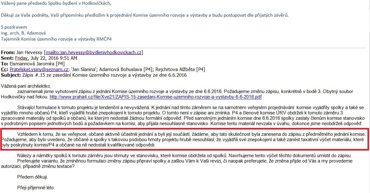 Dopis Komisi pro územní rozvoj P4