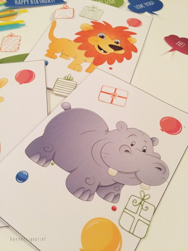 bursdagskort barn - dyremotiv - placecard - bye9design digitalt print - nordic design