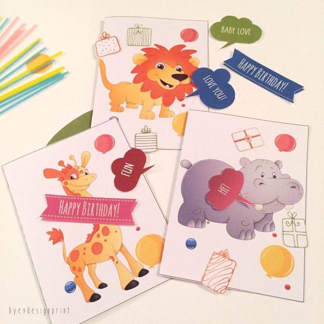 Fargeglade bursdagskort til barna – print de ut hjemme