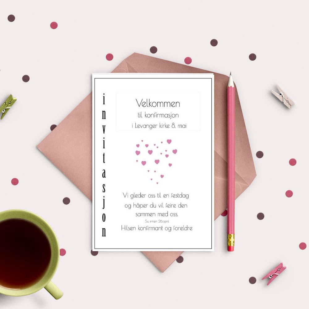 Rosa hjerter invitasjon