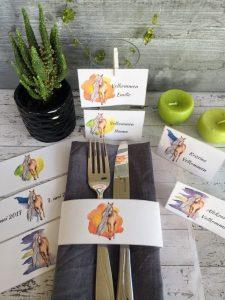 Bordkort med hestemotiv til konfirmasjonsbordet