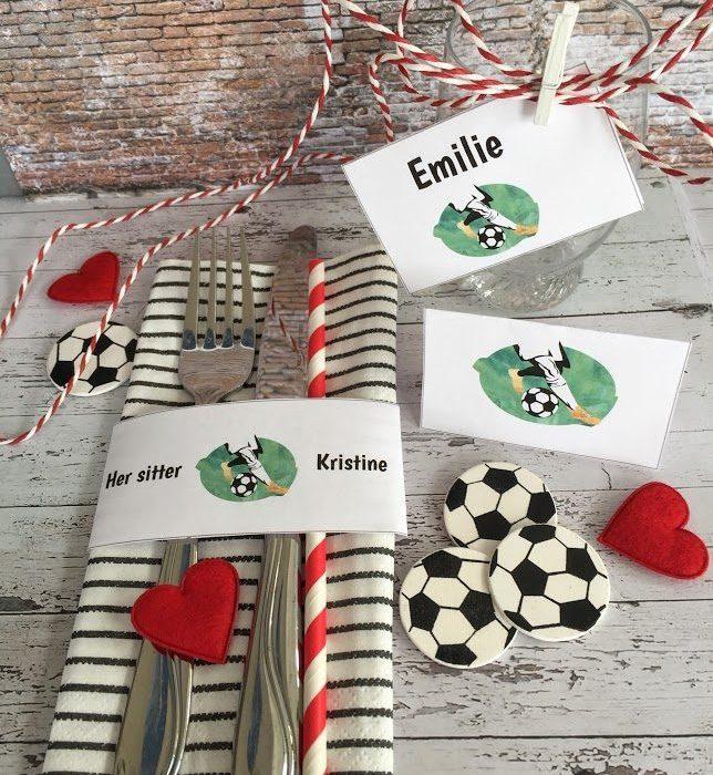Bordkort med fotballmotiv til konfirmasjonsbordet