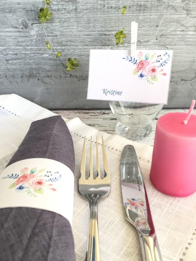 Romantiske bordkort til konfirmasjonsbordet