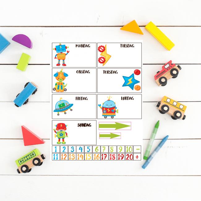Lær barnet ukedagene og hold orden med ukedag lapper