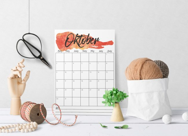 Oktober - gratis kalender du kan skrive ut