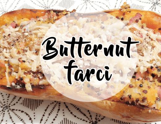 Recette simple et rapide d'un butternut farci au quinoa, lardons et parmesan (alnternative végé possible)