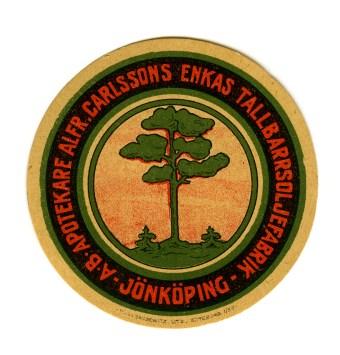 Reklamdekal Alfr Carlssons Enkas tallbarrsoljefabrik