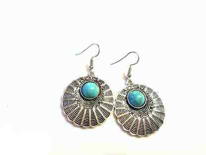 Turquoise and Silver Medallion Earrings