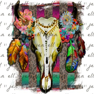 Boho Serape Bull Skull Sublimation Design