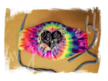 Zentangle Tie Dye Heart Face Mask