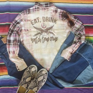 Each, Drink & Watch True Crime Bleached Button Down
