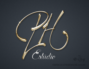 Logo design PH estudio dourado logotipo logomarca metalico metal jlima