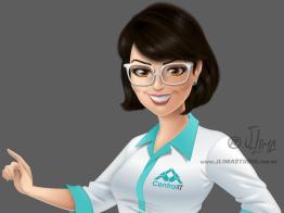 mascote personagem mulher moça garota secretaria design character mascot girl woman jlima ilustracao desenho 3d vetor colorido apresentando busto