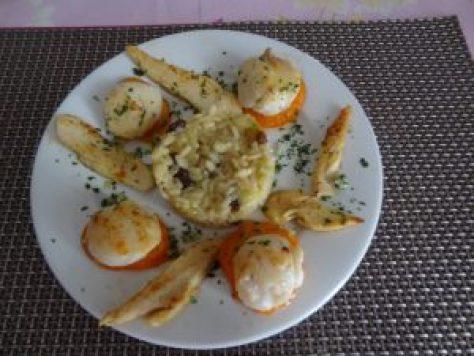 noix de st jacques poulet abricot risotto raisins 1