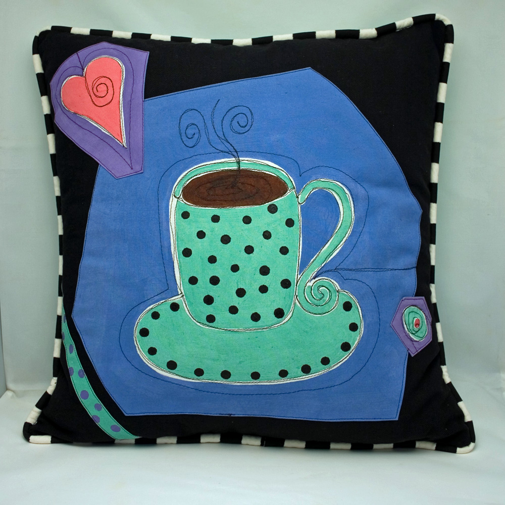 pillow coffee collage hand painted designs by lorna