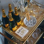 New Years Eve Bar Cart Black And Gold Bar Cart Decor By Lynny