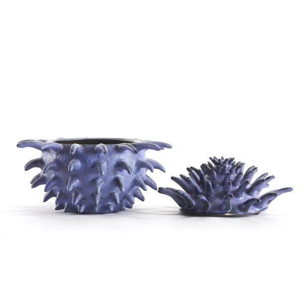 Boîte bleu en céramique avec de grand pique de la forme d'un pollen