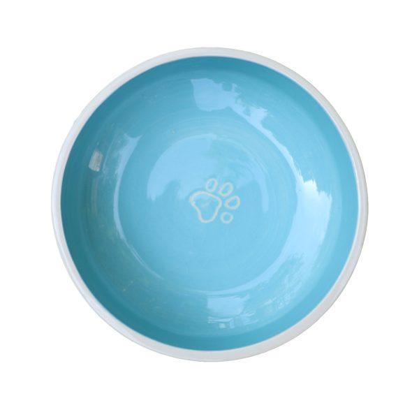 Gamelle bleu ciel pour chat ou chien en céramique coloré avec traces de pattes