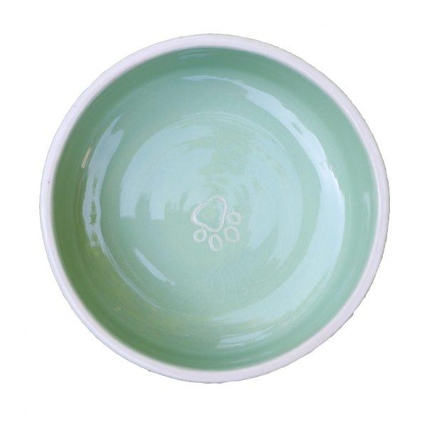 Gamelle vert clair pour chat ou chien en céramique coloré avec traces de pattes