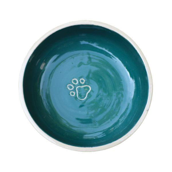 Gamelle vert sapin pour chat ou chien en céramique coloré avec traces de pattes