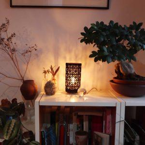 lampe ajourée Sospiri entier petit modèle grès rouge