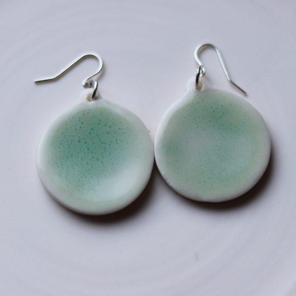Boucles d'oreilles en porcelaine émail vert bulles