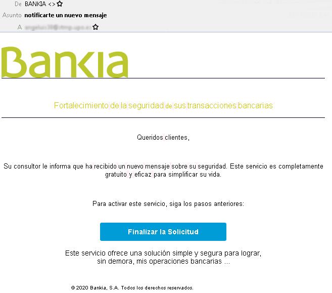 Phishing mediante correos electrónicos que suplantan a Bankia