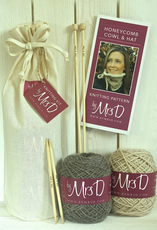 Click here to purchase your by Mrs D Honeycomb Cowl and Hat Knitting Kit