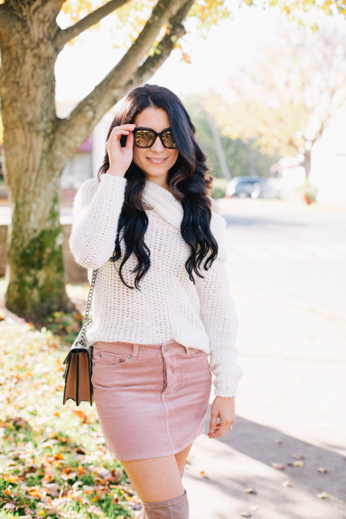 Image of White Off the shoulder sweater + pink cordoury skirt